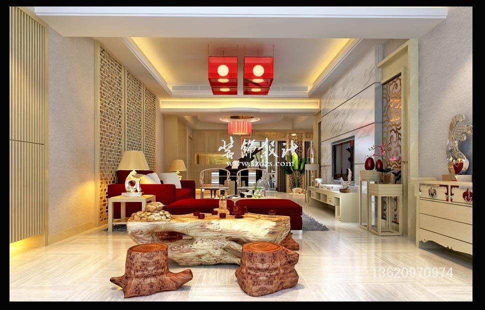 振業城疊加別墅裝修--新中式風格設計