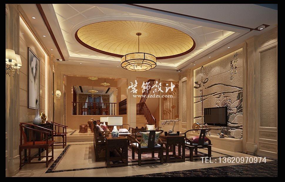 振业城联排别墅装修--中式风格设计