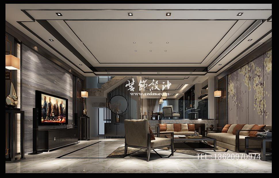 中海大山地聯排別墅裝修--新中式設計
