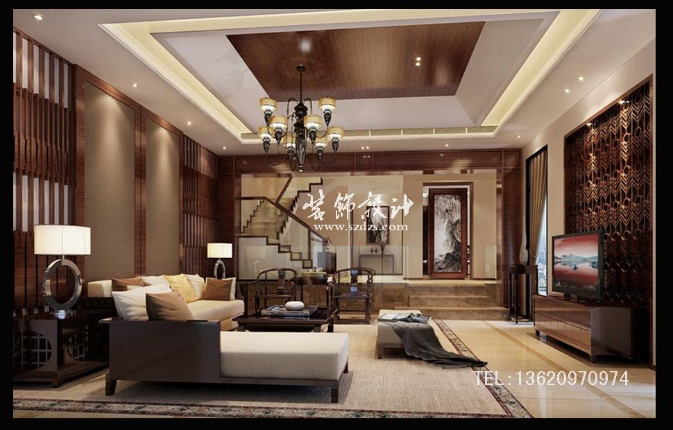 深圳星河丹堤别墅装修--现代中式设计